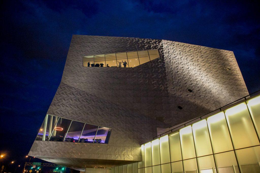 Nighttime view of outside of Walker Art Center