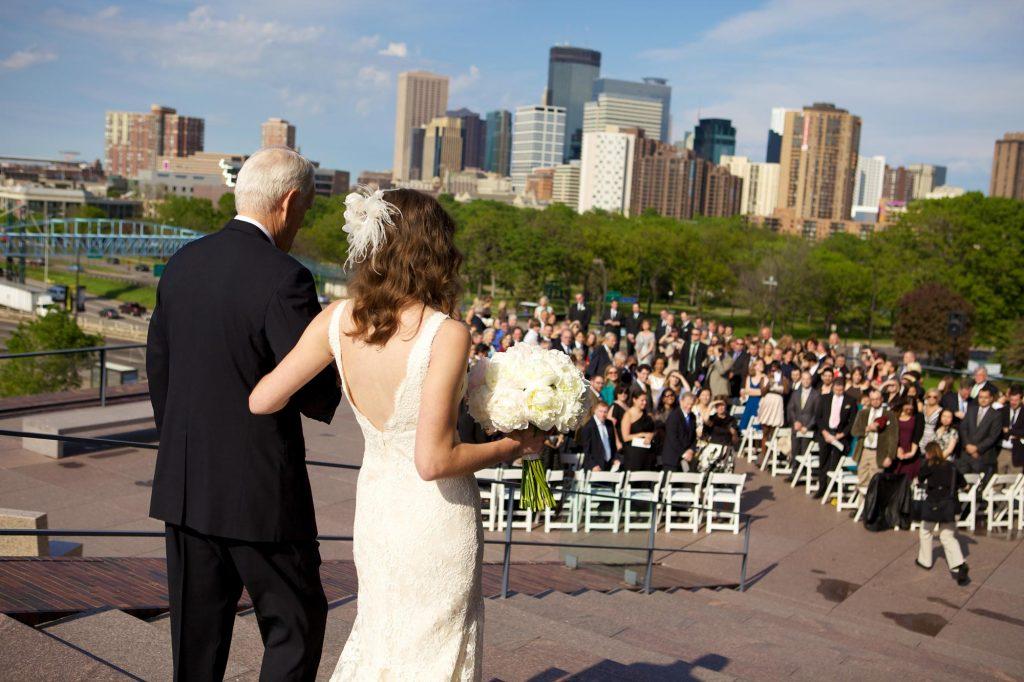 Wedding on terrace at Walker Art Center