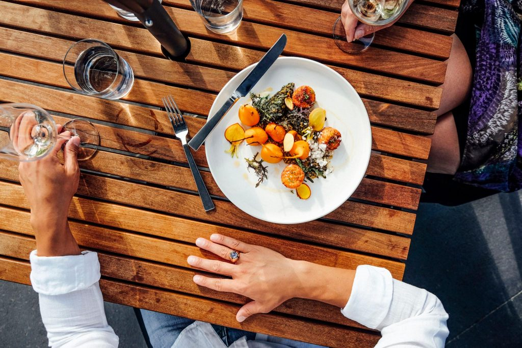 Dinner plate of food.